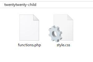 子テーマのフォルダ内に、「functions.php」と「style.css」を作成