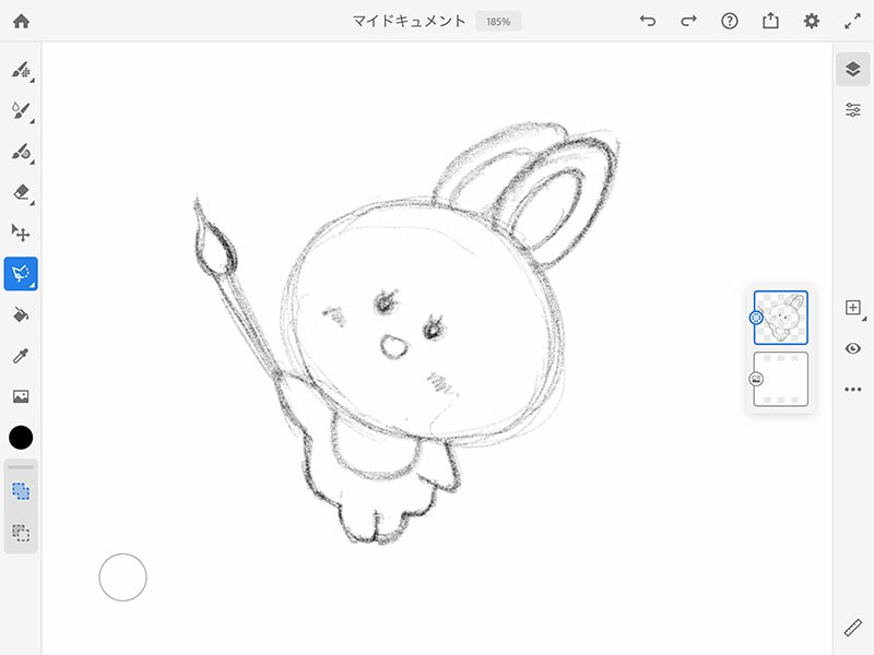ウサギさんのラフ絵